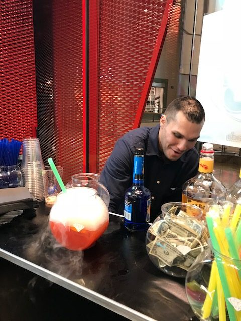 Bartender with fancy drink